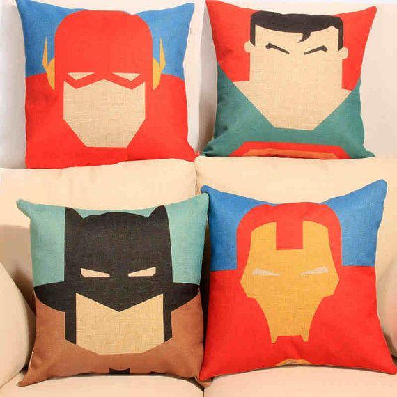 "The Avengers Super Hero The Flash Superman Batman Iron man Pattern Throw Pillow Cover Pillow Case/ retro style home decor cushion case 18"""
