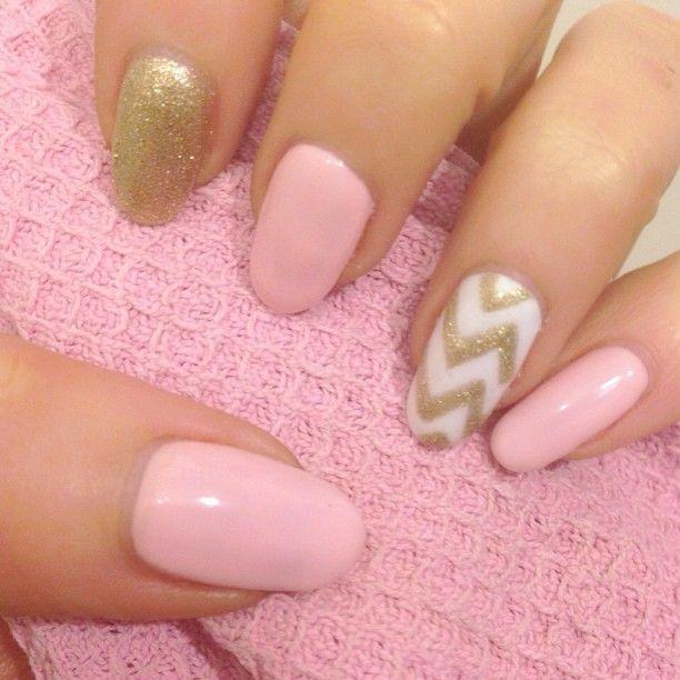 Pink & gold nail art   Nail Art   Pinterest