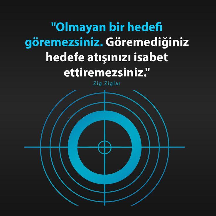 """""""Olmayan bir hedefi göremezsiniz. Göremediğiniz hedefe atışınızı isabet ettiremezsiniz.""""  Zig Ziglar"""