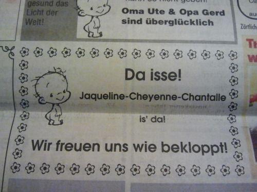 Das großartige Blog Chantalismus sammelt die lustigsten Heckscheiben-Aufkleber mit Kindernamen.