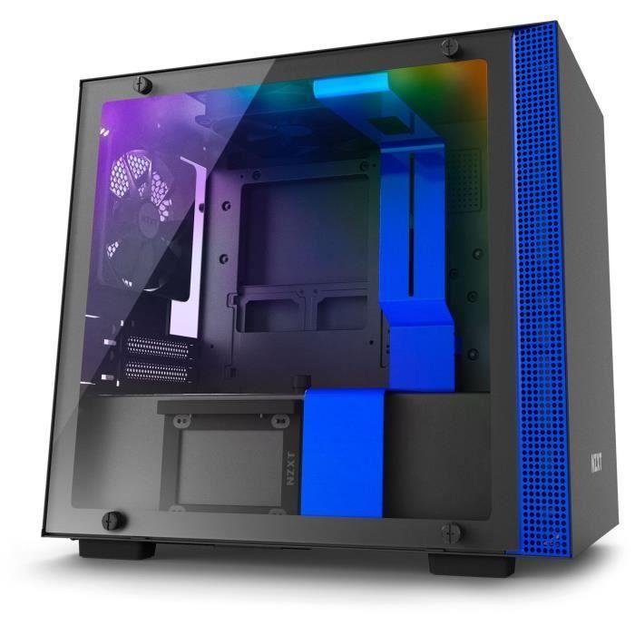 NZXT Boîtier PC Smart H200i – Mini-ITX – Smart Device – Panneau en verre trempé – Noir et bleu