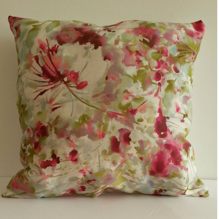 Little Flowers fucsia/green/beige Pillows, Printed fabric, refresh living room, colorful by PaolaGonzalezDesign on Etsy