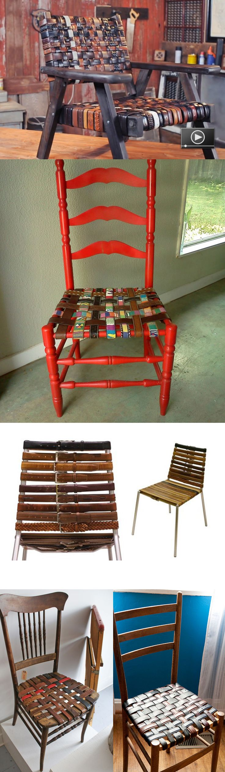 "DIY belt chairs!! Great way to fix any broken or old chair. Love these...fasten your seat belts. :) Imagine the possibilities, follow link for ""how to"". You could even use men's ties."
