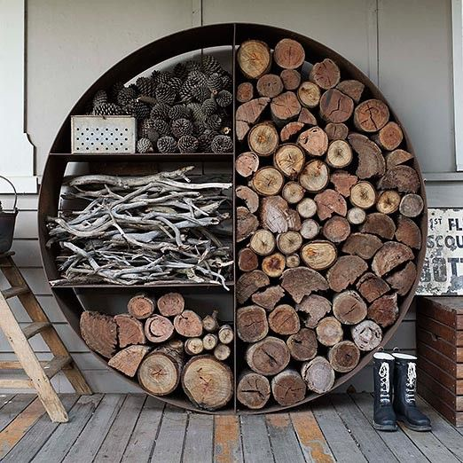 Love this wood stacker. What a nifty idea. The Unearthed Garden
