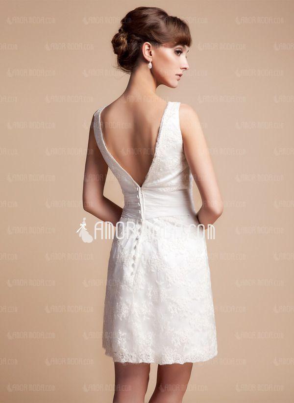 coupe droite col v court mini satin robe de mari e avec dentelle 002011935 mariage. Black Bedroom Furniture Sets. Home Design Ideas