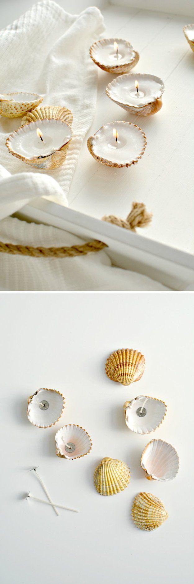 DIY Candle Tutorials for Bathroom Decor | Handmade Shell Candles by DIY Ready at http://diyready.com/bathroom-decorating-ideas-on-a-budget/