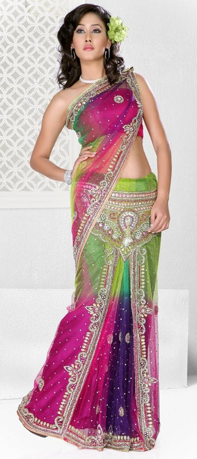 $206.99 Multi Color Net Crystal and Stone Work Wedding Lehenga Saree 22664 jasmen