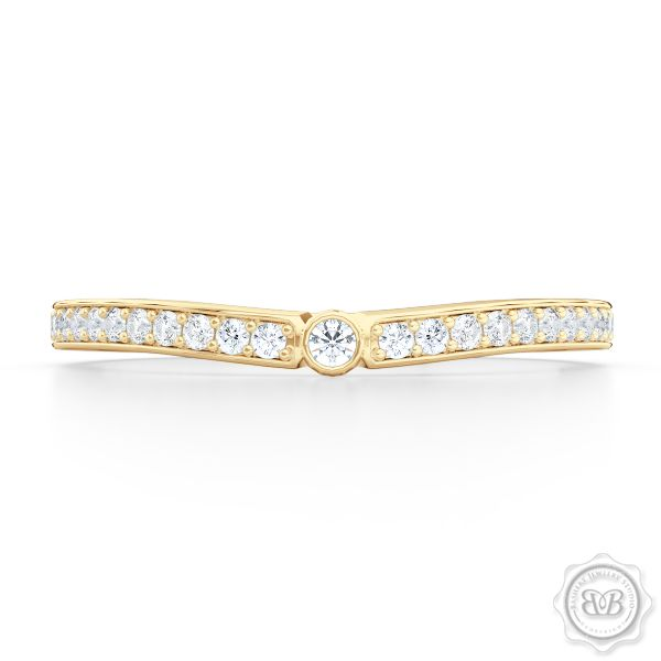Curved Diamond Wedding Band Clean Sophisticated Lines Classic Bead Set Diamonds In
