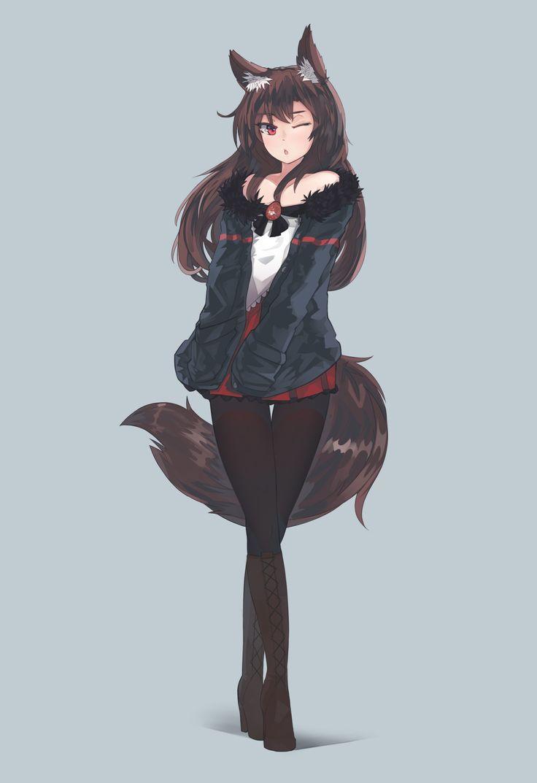 Anime 1752x2556 anime anime girls Imaizumi Kagerou tail long hair animal ears red eyes brunette skirt Touhou
