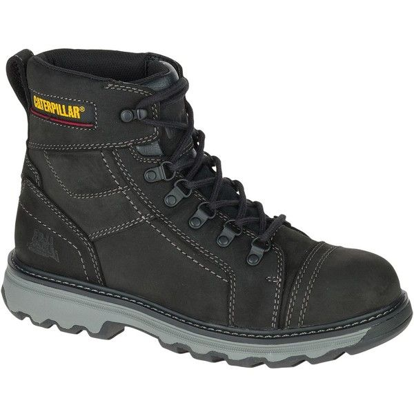 """Caterpillar Granger 6"""" Work Boot ($137) ❤ liked on Polyvore featuring men's fashion, men's shoes, men's boots, men's work boots, black, mens steel toe boots, mens black work boots, mens black boots, mens steel toe work boots and caterpillar mens boots"""