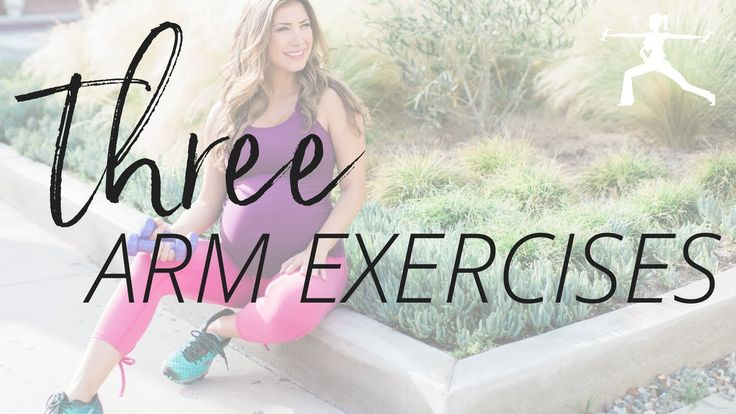 Here are three arm exercises to stay toned during pregnancy! Grab a pair of light dumbbells and lets get started!