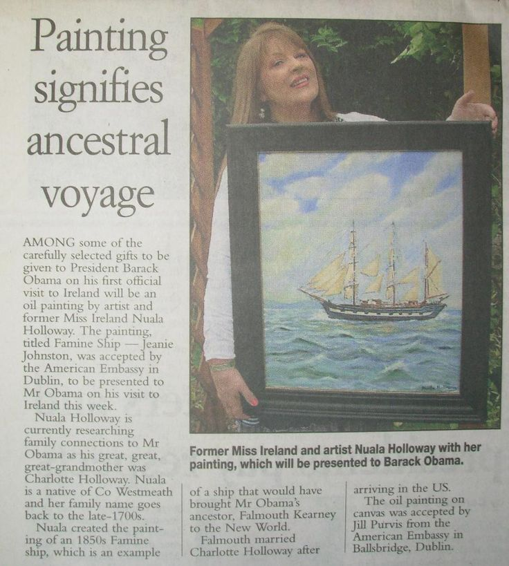 """FROM THE ARCHIVES: National media coverage in the Irish Examiner on 23 May 2011 when Oil on Canvas painting, """"Famine Ship - Jeanie Johnston"""" by Nuala Holloway was accepted by the U.S. Embassy in Dublin as a gift for U.S. President Barack Obama on his first official state visit to Ireland."""