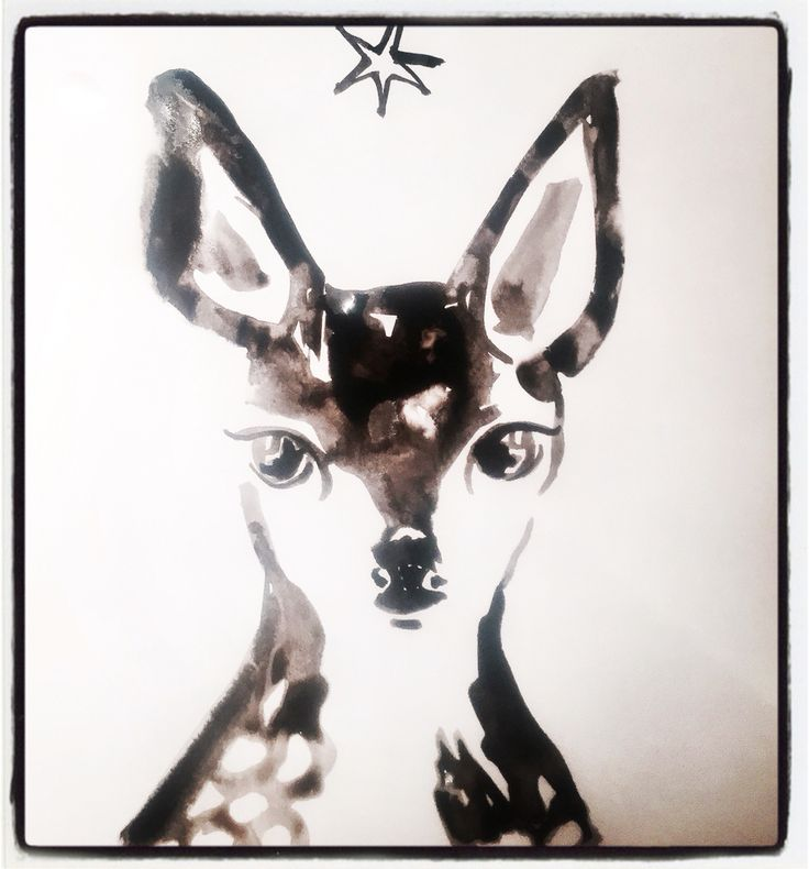 Baby Deer ink drawing by Lizzie Reakes