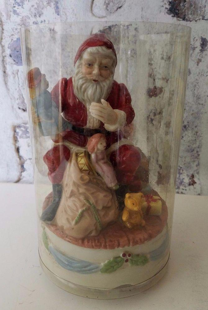 Vintage Christmas Music Box Rotating Figurine Santa Claus is coming Taiwan