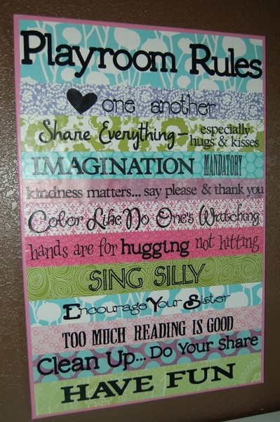 playroom rules; love this!
