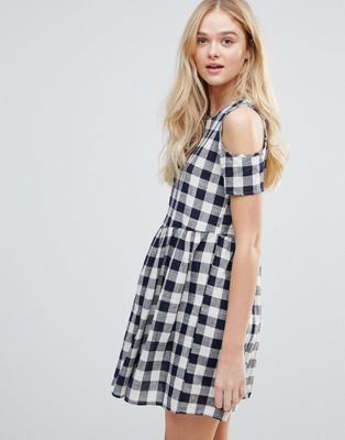 QED London Cold Shoulder Gingham Smock Dress