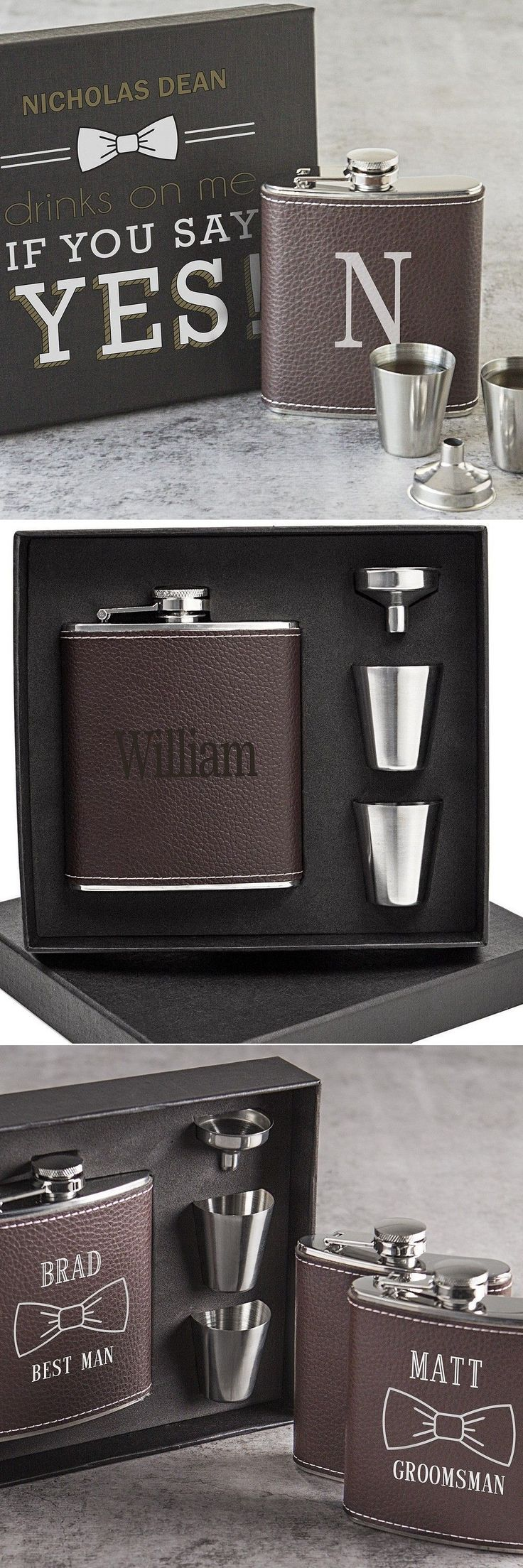 Groomsmen Gifts Idea - Hip flasks personalized with your best man and groomsmen's names or initial is a timeless functional gift they guys in your wedding party will actually use. #groomsmengifts #groomsmengiftsideas
