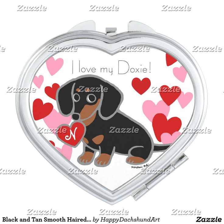 Black and Tan Smooth Haired Dachshund Makeup Mirror #dachshund #gift #doxie #cute