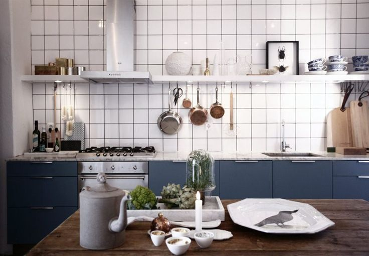 Love this kitchen; white backsplash, hint of gray blue, farm table, open shelving