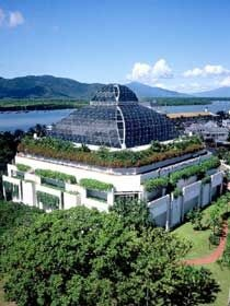 Cairns Wildlife Dome in Australia, has animals including crocodaile on top of The Reef Casino