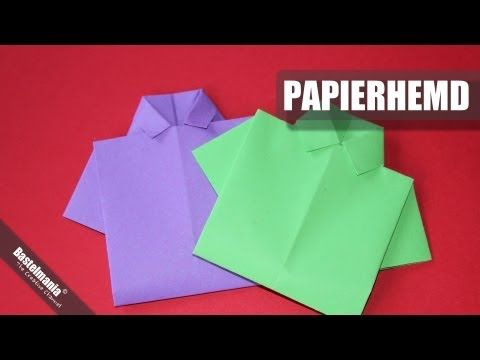 ▶ Papierhemd falten / Hemd / shirt / Origami - YouTube