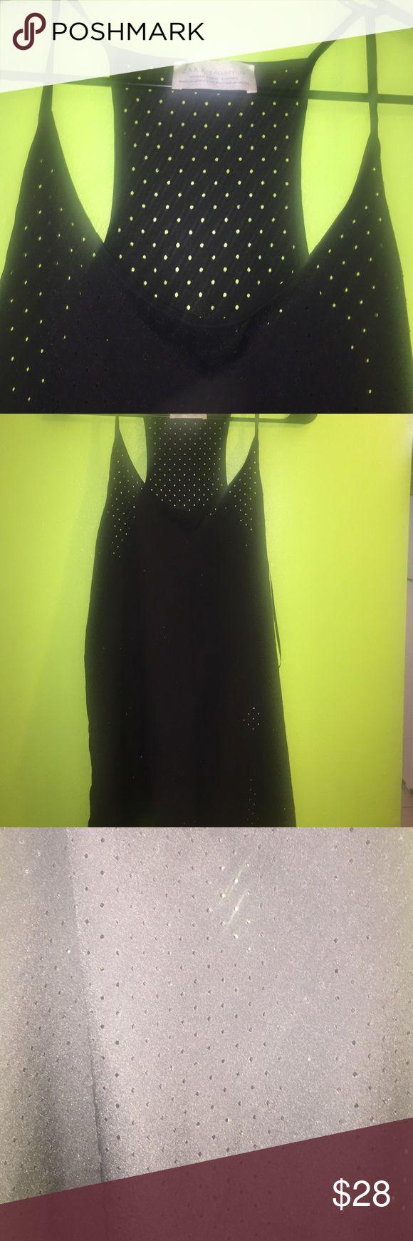 Zara black spaghetti strap Woman & basic tshirts: 100% Polyester Zara Tops