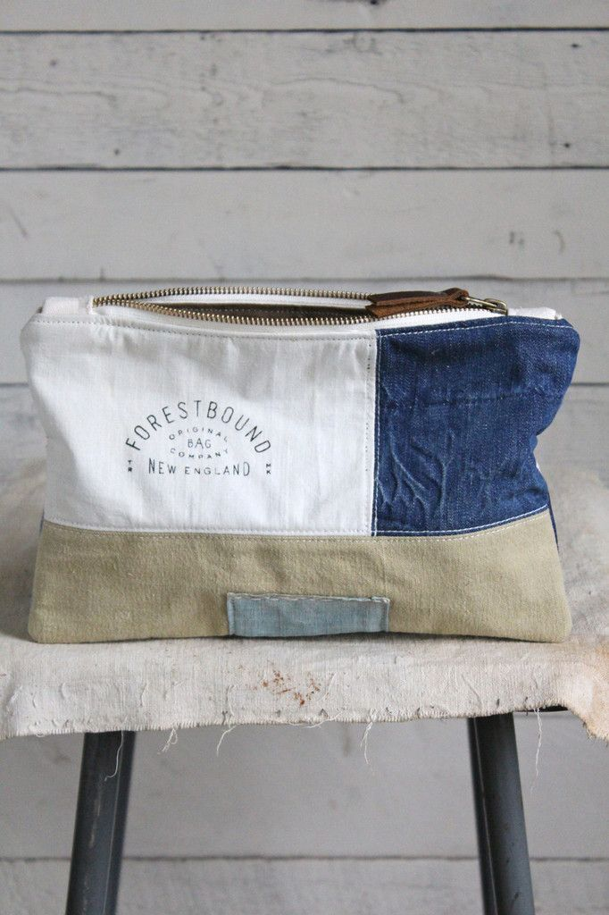 1940's era Pieced Canvas and Denim Utility Pouch