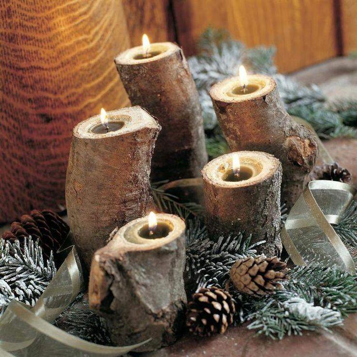 décoration-noël-bougies-bois-massif-pommes-pins-assortis