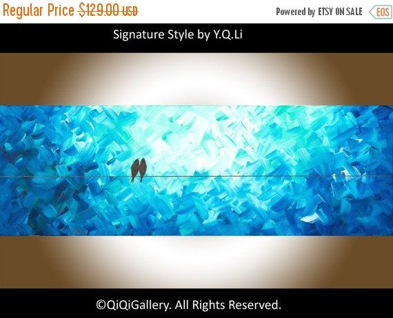 Painting Birds painting oil abstract painting wall by QiQiGallery