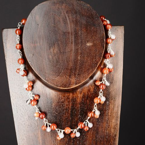 My #handmade Sardonyx and Agate Charm Necklace. #handmade sterling silver wire wrapped #sardonyx and grey #agate charm choker necklace, finished with a handmade sterling silver wire S-hook.