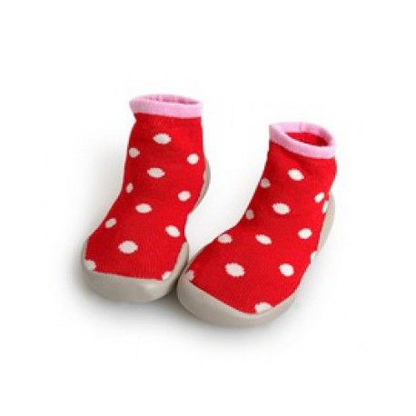 """Slippers, """"Paris"""", red with white dots, Collégien"""