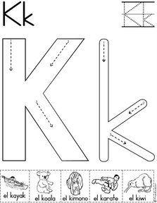 letra k fichas del abecedario y el alfabeto para descargar gratis para imprimir de niños
