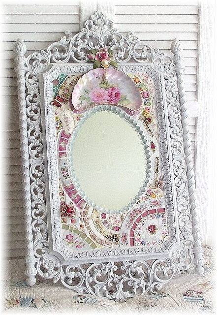 And to think it started out as a thrift shop mirror.  From my chicly shabby mosaic days.  (Now over.)