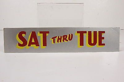 Sat Thru Tue Flocked 50's Vintage Movie Theater Poster Sign Marquee