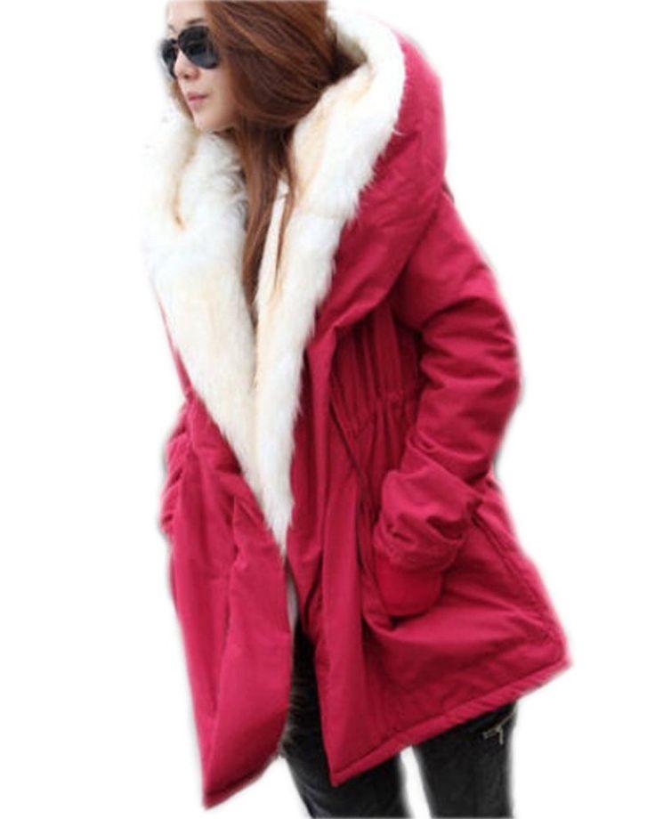 Roiii Women Thicken Warm Winter Coat Hood Parka Overcoat Long Jacket Outwear: