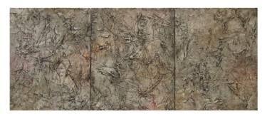 "Saatchi Art Artist Maryse Lapointe; Painting, ""Triptysh Fossils / Triptyque Fossiles - 2017 (sold)"" #art,  #art, #oiloncanvas, #abstract, #abstractexpressionism, #riopelle, #georgesmathieu, #artquebecois, #music, #oilpainting, #artistequébécoise, #abstrait, #expressionnismeabstrait, #maryselapointe, #saisons, #seasons, #dekooning, #borduas, #automatisme,  #tableauàl'huile, #musique, #fossiles, #fossils, #maryselapointe.net, http://maryselapointe.net/"