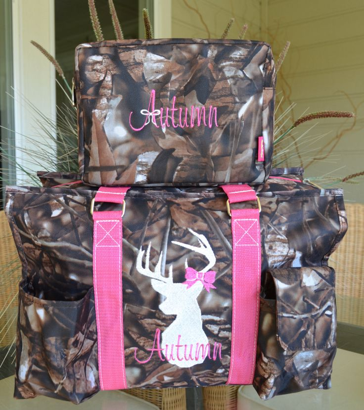 "Pink Camo Tote, 16"" Diaper Bag, Nurse's Tote, Hunting Tote by StitchedInStyle1 on Etsy"