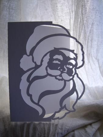 FATHER CHRISTMAS OVER THE EDGE CARD 1 on Craftsuprint designed by Clive Couter - gsd files; with optional shaped backing plate - Now available for download!