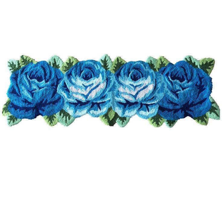 Ustide 4 Blue Rose Floor Runner Rug Handmade Mat Floral Rug Modern Carpet Washable Anti-Slip Floor Mats for Bedside