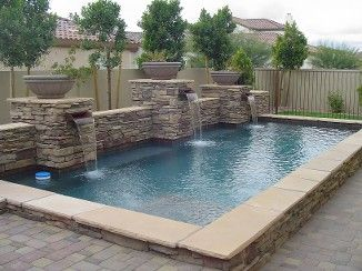 Example of no transition piece from tile to stone image for Raised swimming pool designs