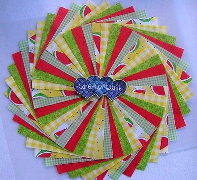50 per pk.Quilting Fabric,Watermelons Swirl Charm pack 5 inch squares