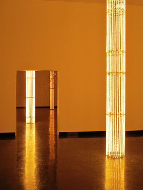 Steel Partition Ideas: Golden lights, artist: Cerith Wyn Evans (at Bergen Kunsthall)