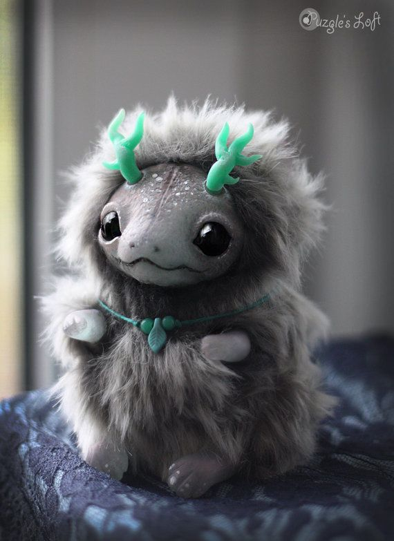 Frozen Grey Dragon Cub OOAK Art Doll by PuzglesLoft on Etsy