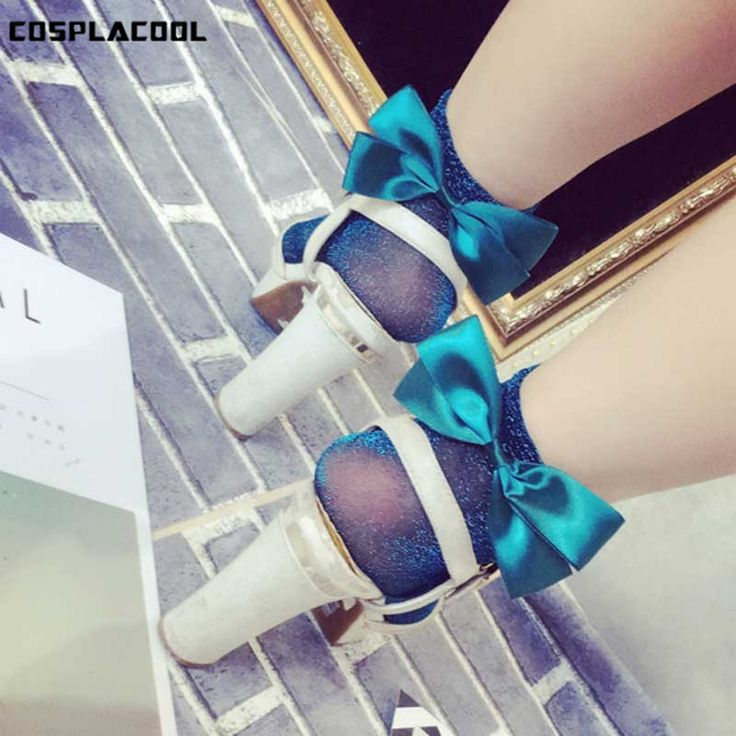 [COSPLACOOL]Sexy Bowknot Transparent Lace Sokken Hollow Out Mesh Socks Women Bubble Fishnet Creative Meias Harajuku Calcetines #Affiliate