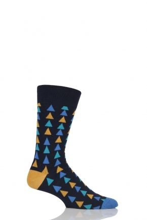 """""""Not for the man afraid of a bit of colour, our latest SockShop Colour Burst Stacked Triangles Cotton Socks mix several bright shades with downward pointing triangles to give these soft, comfortable cotton rich knits their distinctive and impactful good looks. All our SockShop Colour Burst Socks come in a true sock, half calf length, with elasticated cuffs and hand linked toes for smooth seams. At 90% cotton, these are some serious quality 'fun' socks!"""""""
