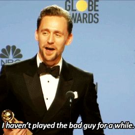 """""""I haven't played the bad guy for a while. I just finished Thor: Ragnarok in which I play Loki again. But mercifully, the bad boy pants were passed on to Cate Blanchett this time around. Who is playing the goddess of death, which is significantly more bad than the god of mischief."""" Gif-set: http://maryxglz.tumblr.com/post/155672801227"""