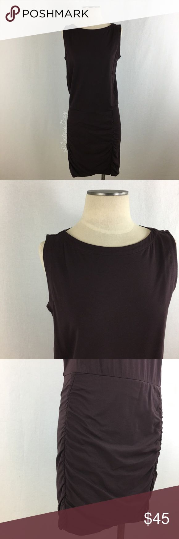 """Athleta- Plum Sleeveless Ruched Dress Size Medium Athleta- Plum Sleeveless Ruched Dress Size Medium. Made of 56% Cotton, 38% Modal, and 6% Spandex. Drop waist style. Skirt portion is tucked on both sides and there's a subtle tulip in the front. Excellent quality, like new. Shoulder-bottom measures about 39"""" in length. From shoulder-skirt seam (torso) measures about 21"""" Long (Skirt part is 18"""" Long). Armpit-armpit measures 19"""" across laid flat. Also available in Black Size Medium. (D) Athleta…"""