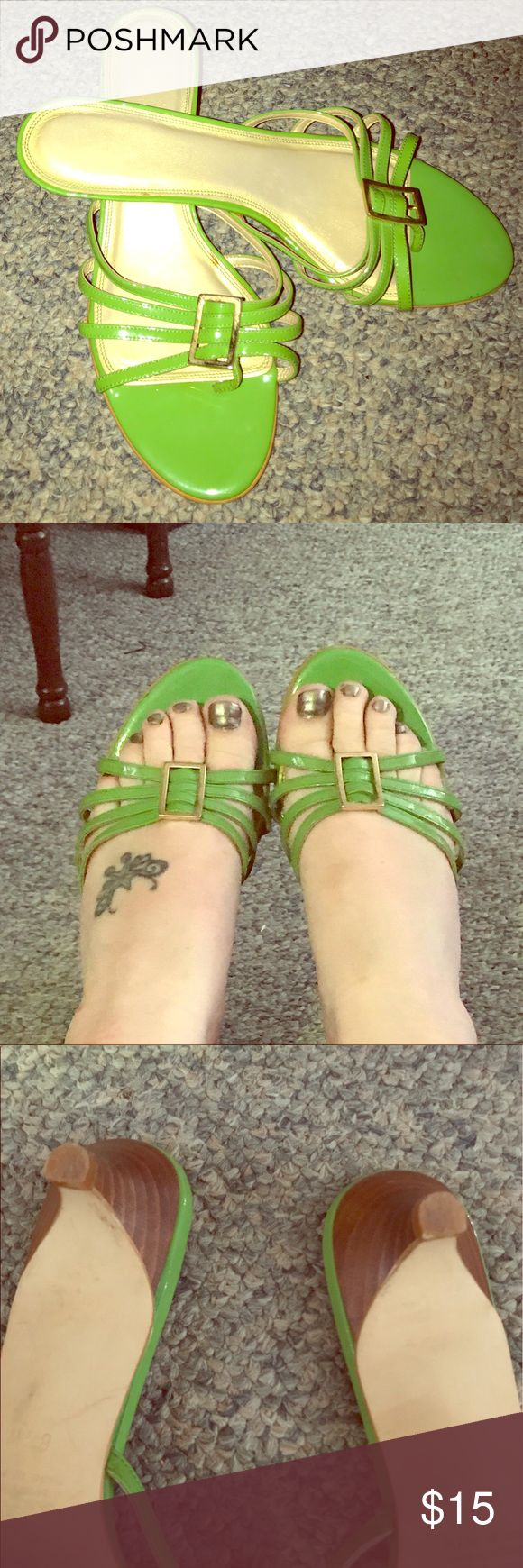 Neon Green/Kitten Heel/Flip-Flops  😍 Neon Green/Kitten Heel/Flip-Flops with a super cute gold buckle! Very bright & summery! They are so comfy too!! You can wear these with any fun, summer outfit or even poolside!! I'm not sure if these were even worn 😕 Don't miss out on these super cute heels!! They are beautiful!! Made in Spain with high quality leather! Bundle & Save!! 🌝❤️⭐️😘 Shoes