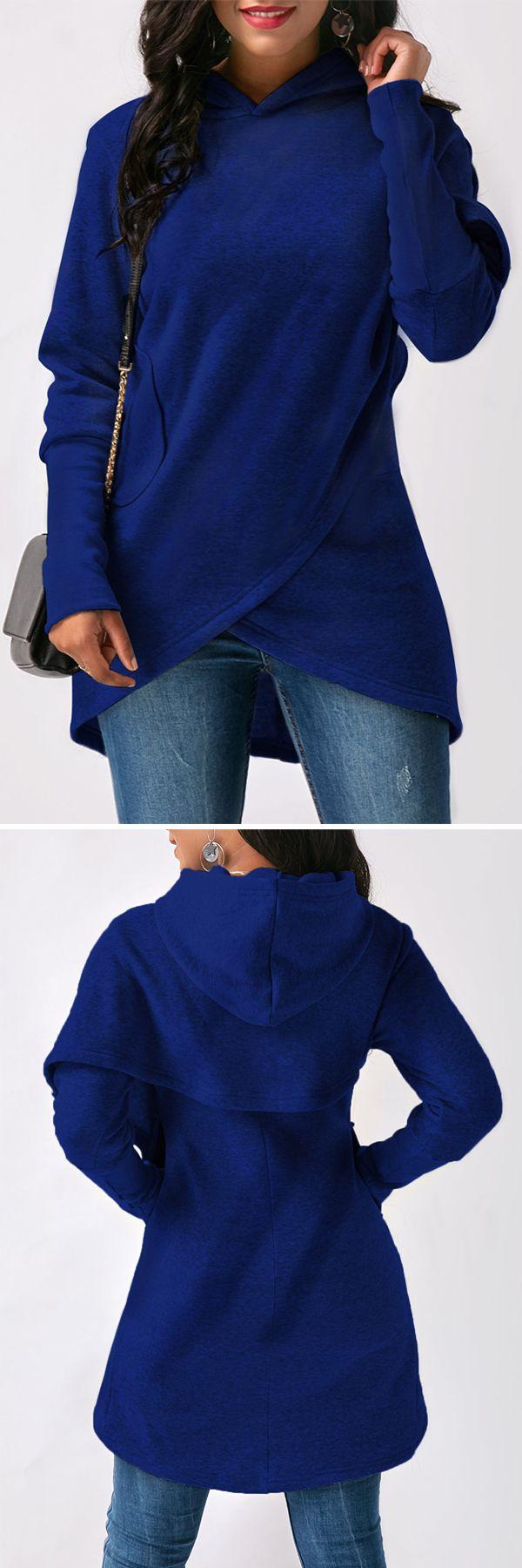 Royal Blue Asymmetric Hem Long Sleeve Pocket Hoodie