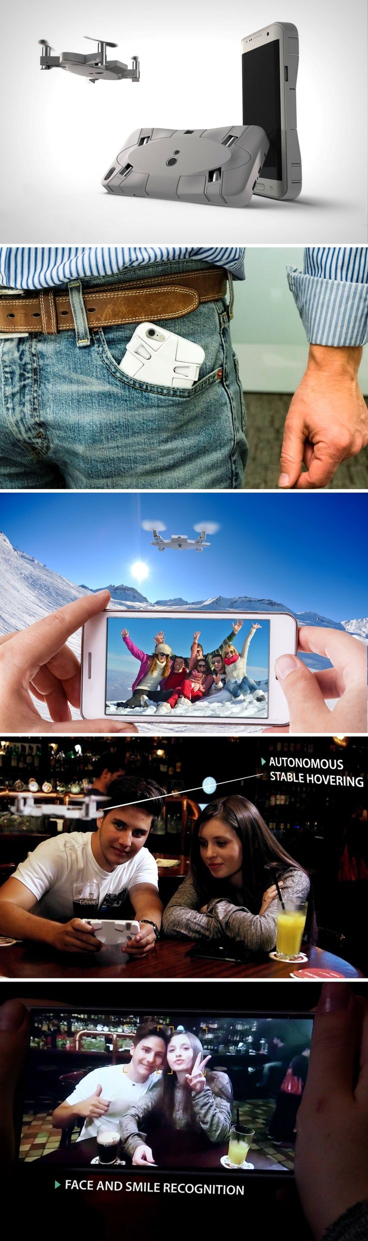 Selfly's drone is roughly the size and thickness of your phone. When it folds up, it snaps right onto the back of your regular smartphone, integrating with your mobile phone in such a way, you won't even know you have the world's smallest personal flying camera in your pocket with you!